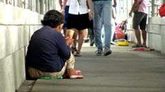 Elderly Asian Woman Begging - stock footage