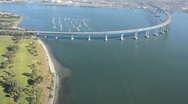 Stock Video Footage of aerial Coronado Bay Bridge San Diego