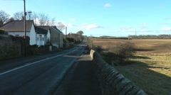 Roman Road near Heddon on the Wall, ploughed fields and grassy farm land Stock Footage