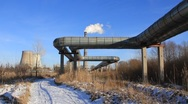 Heat electropower station. Long-distance pipe line Stock Footage