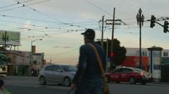 San Francisco transportation buses trolley bikes pedestrians Stock Footage