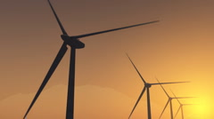 Wind power 4 at sunset Stock Footage