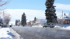 Winter street small town P HD 8633 Stock Footage