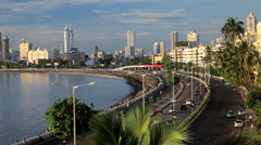 Beach and Marine drive with the Skyline of Mumbai City, India Stock Footage