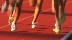 Legs on track Stock Footage