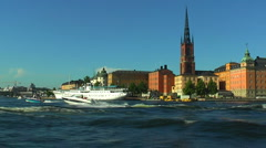 Scenic sea cruise in Stockholm, Sweden Stock Footage