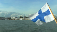 Marine panorama of Helsinki with Finnish flag Stock Footage