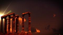 Roman collumns at sunset Stock Footage