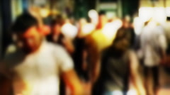 Crowd slow motion, lens bokeh Stock Footage
