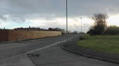 Corner of road in old industrial estate Stock Footage