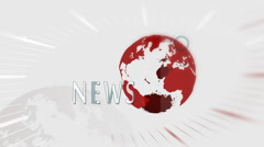 Stock Video Footage of News intro with red globe rotating on white background