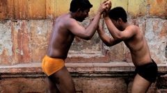 Two local Kushti wrestlers in competition, Kolhapur, India Stock Footage