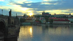 Scenic sunset in Prague, Czech Republic Stock Footage