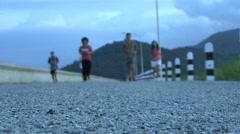 University Students Running At Dusk Stock Footage