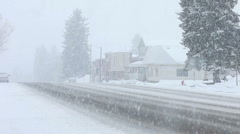 Snow blizzard small rural town P HD 8663 Stock Footage