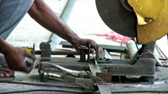 Grinder Cutting Steel Rod Stock Footage