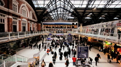 People Arriving and Departing from Liverpool Street Station London England Stock Footage