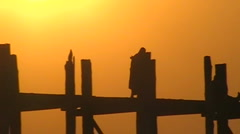 Sunset monks burma  Stock Footage