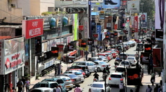 Busy Brigade road ( Main Shopping Street ), Bangalore, Kamataka, India Stock Footage