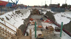 West LRT trench, under construction Stock Footage