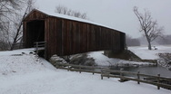 Stock Video Footage of Covered Bridge snowing