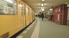 Underground train leaving station 2 Stock Footage