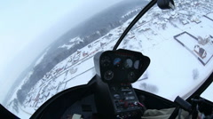 Helicopter flight over winter forest Stock Footage