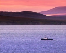 Boat at sunset in the Chukchi Sea Stock Footage