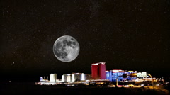 Laughlin Nevada-stars and moon 4567 Stock Footage