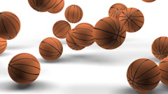 Jumping basketballs on white with zoom.  (HD 30fps + Alpha) Stock Footage