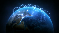 Stock Video Footage of Growing Global Network Realistic