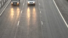 Traffic and Headlights Motorway Stock Footage