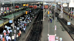 T/ Lapse, Commuters at Victoria Terminus, Mumbai, India Stock Footage