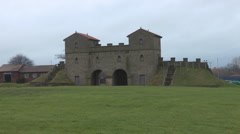 Rebuilt gateway of Roman Military Fort. Stock Footage