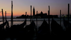 Time Lapse from night into day of Gondolas San Giorgio Maggiorl island, Venice Stock Footage