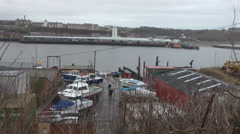 North Shields fish market, with boat repair yard in foreground Stock Footage