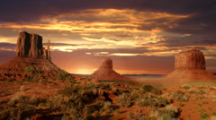 Beautiful sunset in Monument Valley - stock footage