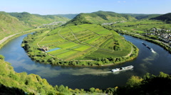 Time Lapse of the Town of Bremm, with nautical vessels, River Mosel Germany Stock Footage