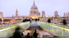 Time Lapse Millenium Bridge, St Paul's Cathedral, London, England Stock Footage