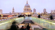 Stock Video Footage of Time Lapse Millenium Bridge, St Paul's Cathedral, London, England