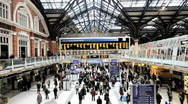 Time lapse, People Arriving and Departing from Liverpool Street Station London  Stock Footage