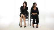 Nervous young girls waiting for interview  Stock Footage