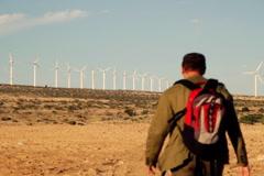 Male backpacker walking in the desert, electric wind farm in background Stock Footage
