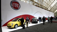 Fiat cars on display at the Canadian International Auto Show - stock footage