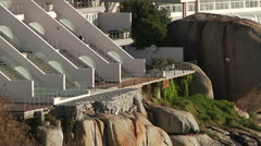 Capetown SA resorts along the ocean ZoomOut Stock Footage