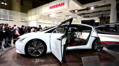 White Nissan Ellure concept car at the Canadian International Auto Show Stock Footage