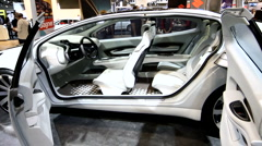 View of the concept car interior with doors opened Stock Footage