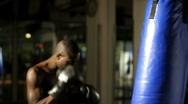 Thai Boxer exercising; Stock Footage