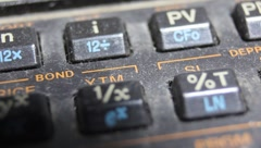 Old style HP calculator HP 12C macro close up of keys or buttons Stock Footage