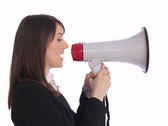 Megaphone executive. SD. Stock Footage